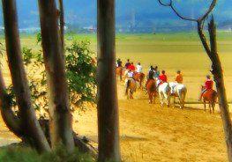 Excursión de jóvenes por la playa a caballo