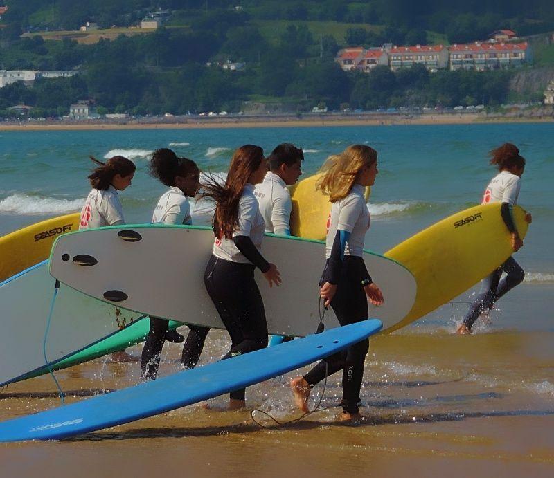 Grupo de participantes a punto de surfear